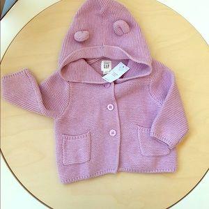 Baby gap garter bear button up lilac sweater
